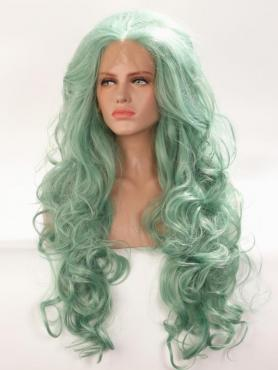 Light Green Wavy Long Lace Front Synthetic Wig-DQ036