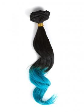 Black to Blue-shade Colorful Ombre Clip In Hair Extensions CD010