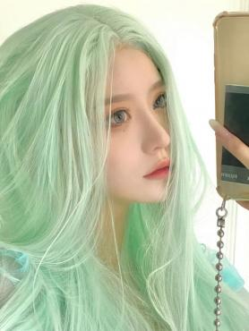 Mint Green Long Straight Synthetic Wefted Cap Wig LG324