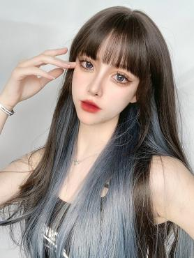 MIXED COLOR LONG STRAIGHT SYNTHETIC WEFTED CAP WIG LG437