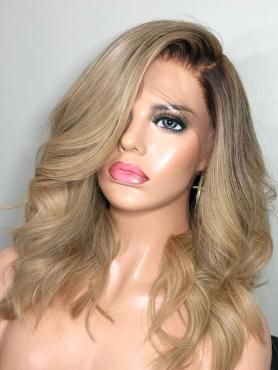 New Blonde Wavy Short Full Lace Human Hair Wig N007