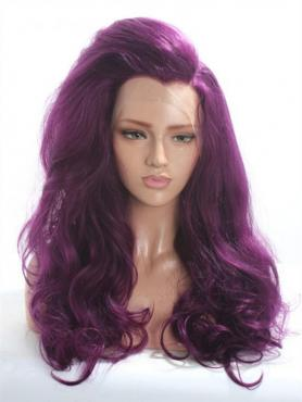 Dark Purple Wavy Long Lace Front Synthetic Wig-DQ024