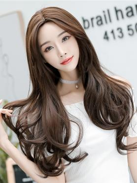 CHOCOLATE LONG WAVY SYNTHETIC WEFTED CAP WIG LG310