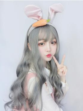 SMOKY GRAY LONG WAVY SYNTHETIC WEFTED CAP WIG LG100