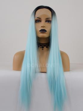 BLUE OMBRE LONG STRAIGHT SYNTHETIC LACE FRONT WIG SNY286