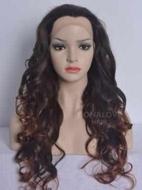 Brown ombre #30 Waist-length Wavy Synthetic Lace Wig-SNY062