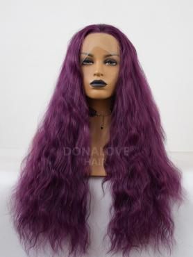 DARK PURPLE SHADE SLIGHT BEACH WAVY SYNTHETIC LACE FRONT WIG SNY289