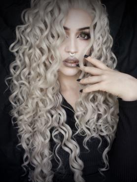 Gray waist length curly Synthetic Lace Wig-SNY068