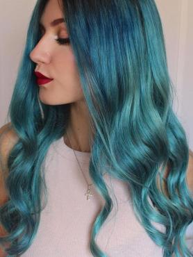 Youtube STAR Stella Customize Teal Blue Human Hair Full Lace Wig Stella001