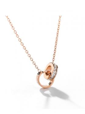 Rose Gold Double Rings Necklace F044