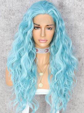 NEW SKY BLUE BEACH WAVY SYNTHETIC LACE FRONT WIG SNY150