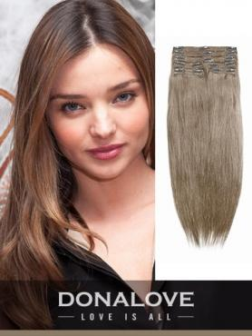 Medium Golden Brown indian remy clip in hair extensions SD011