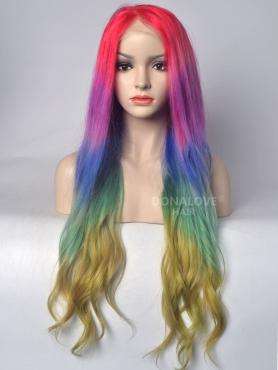 Rainbow Mermaid colorful Lace Front Human hair wig HH041