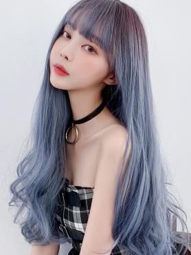 New Haze Blue Long Wavy Wefted Synthetic Wig LG035