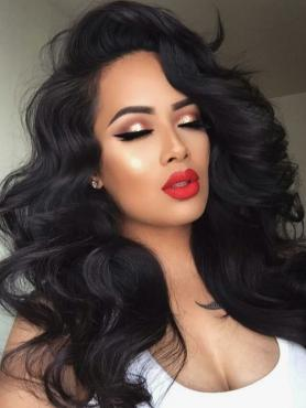 New Black Bouncy Curls Human Hair Full Lace Wig FLW025