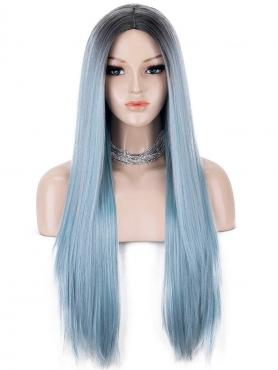 BLACK TO DUSTY BLUE LONG STRAIGHT SYNTHETIC LACE FRONT WIG SNY183