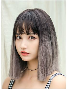 New Black to Grey Straight Synthetic Wefted Cap Wig LG036