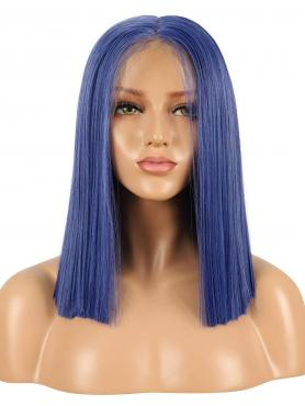 Dark Blue Shoulder Length Bob Synthetic Lace Front Wig SNY168
