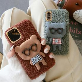 FURRY BEAR WITH GLASSES SHOCKPROOF PROTECTIVE DESIGNER IPHONE CASE PC040