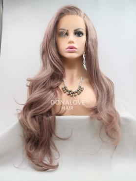 ROSE PINK LONG WAVY SYNTHETIC LACE WIG SNY220