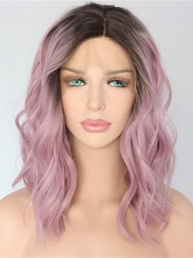 PINK OMBRE SHOULDER LENGTH WAVY SYNTHETIC LACE FRONT WIG SNY153