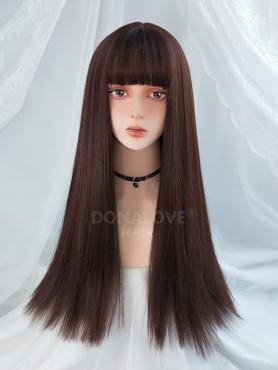 DARK BROWN LONG STRAIGHT SYNTHETIC WEFTED CAP WIG LG206