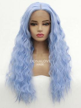 LIGHT BLUE LONG CURLY SYNTHETIC LACE FRONT WIG SNY215
