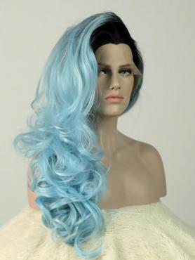 Black to Light Blue Wavy Long Lace Front Synthetic Wig-DQ029