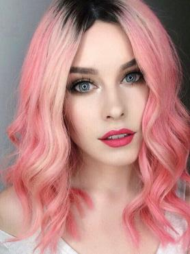Pink Customized Human Hair Lace Front Wig by Lauren