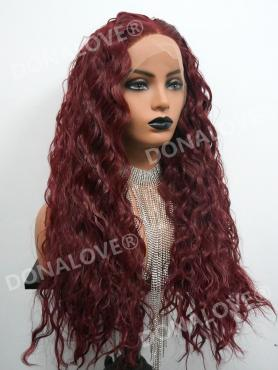 Reddish Brown CURLY WAIST LENGTH SYNTHETIC LACE FRONT WIG-SNY159