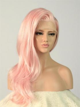 Pink Straight Waist-length Lace Front Synthetic Wig-DQ003