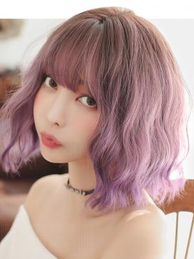 NEW BROWN TO PURPLE WAVY SYNTHETIC WEFTED CAP WIG LG065