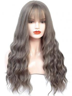 NEW GRAY LONG WAVY SYNTHETIC WEFTED CAP WIG WW046