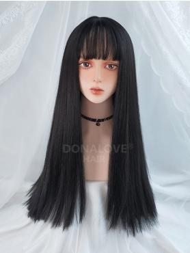 NATURAL BLACK LONG STRAIGHT SYNTHETIC WEFTED CAP WIG LG204