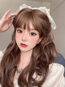 BROWN LONG WAVY SYNTHETIC WEFTED CAP WIG LG299