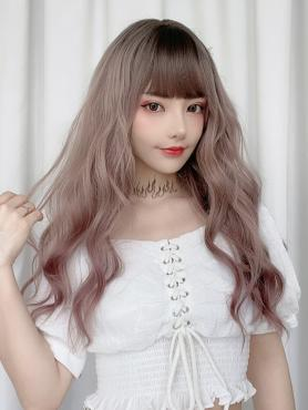 GRADIENT GRAY PINK LONG WAVY SYNTHETIC WEFTED CAP WIG LG302