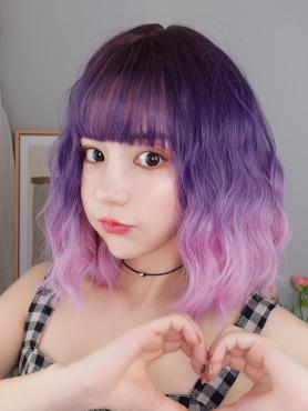 NEW PURPLE TO PINK BOB WAVY SYNTHETIC WEFTED CAP WIG LG047