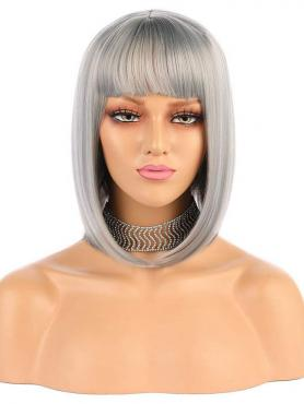 NEW GRAY STRAIGHT BOB SYNTHETIC WEFTED CAP WIG WW048
