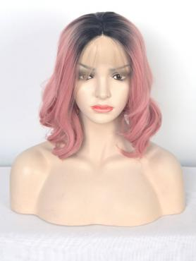 Pink Ombre Wavy Synthetic Lace Front Wig SNY111