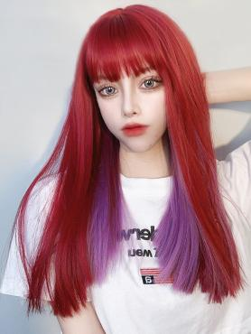RED MIXED PURPLE STRAIGHT SYNTHETIC WEFTED CAP WIG LG440