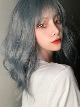 DUSTY BLUE WAVY SYNTHETIC WEFTED CAP WIG LG436