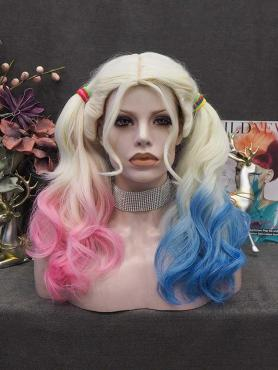 HARLEY QUINN INSPIRED WAVY SYNTHETIC WEFTED CAP WIG WW083