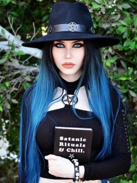 Black Ombre Blue Long Synthetic Lace Front Wig SNY080