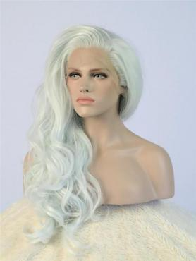 Light Green Mixed White Wavy Long Lace Front Synthetic Wig-DQ025