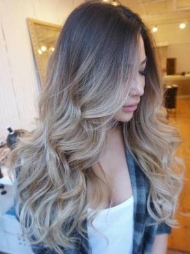Ash Blonde Ombre Long wavy Full Lace Human Hair Wig FLW009