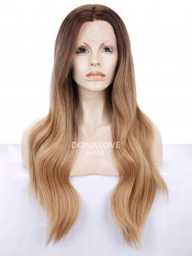 BROWN TO BLONDE LONG WAVY SYNTHETIC LACE FRONT WIG SNY213