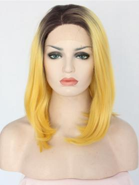 BROWN TO YELLOW STRAIGHT SHOULDER LENGTH SYNTHETIC LACE FRONT WIG SNY158