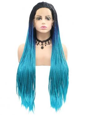 BLUE OMBRE LONG STRAIGHT SYNTHETIC LACE FRONT WIG SNY236