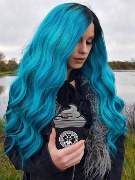 Instragram Star Laurencalaway Black to Blue Human hair Full Lace wig Lauren002