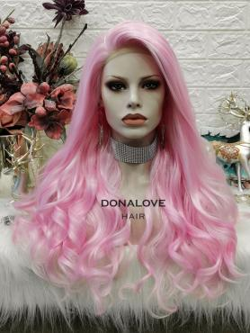 PINK OMBRE CURLY LONG SYNTHETIC LACE FRONT WIG SNY304